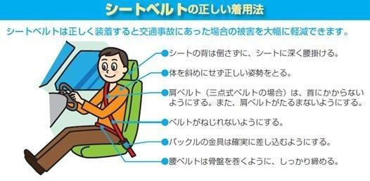 シートベルトの正しい着用法